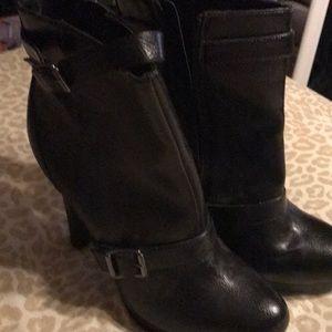 Black high heeled booties